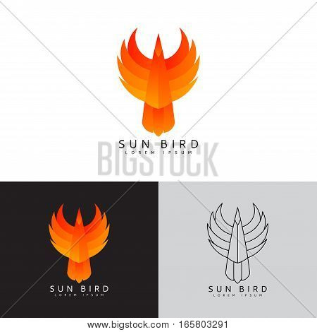 Template logo of phoenix. Color symbol of fire bird. Icon in line art style. Vector illustration.
