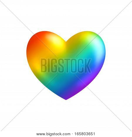 3D gay heart isolated on white background. Vector illustration. LGBT symbol for Valentine's day.