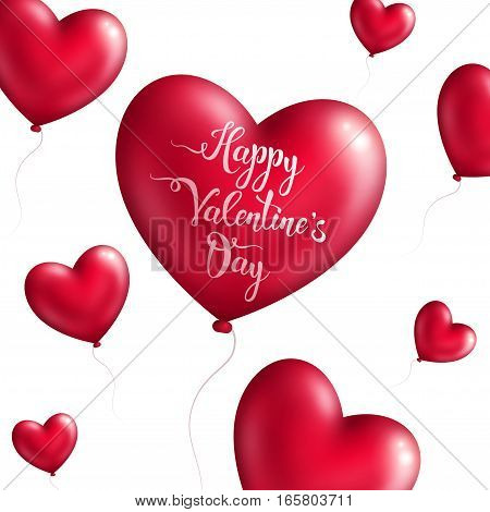 Valentine's day background with red heart shaped balloons. Vector illustration. Hand written lettering.