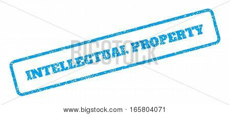 Blue rubber seal stamp with Intellectual Property text. Vector caption inside rounded rectangular frame. Grunge design and dust texture for watermark labels. Inclined blue sticker on a white background.