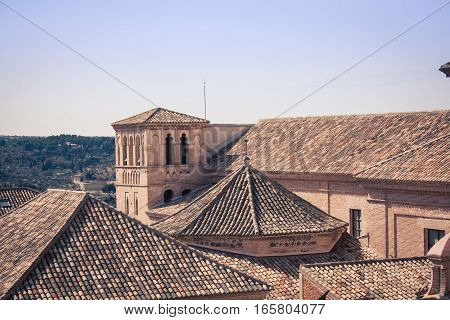 Terracotta roofs and view of  Toledo spain