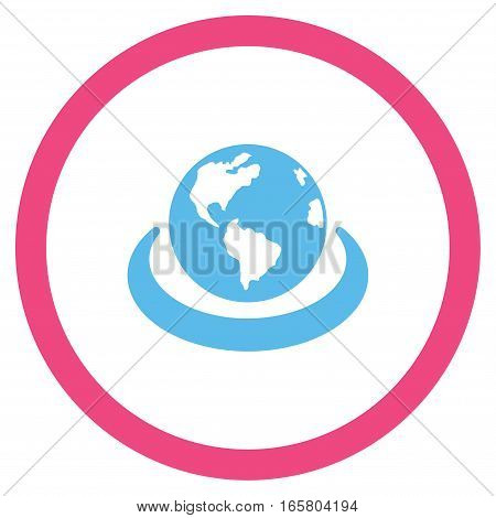International Network vector bicolor rounded icon. Image style is a flat icon symbol inside a circle, pink and blue colors, white background.