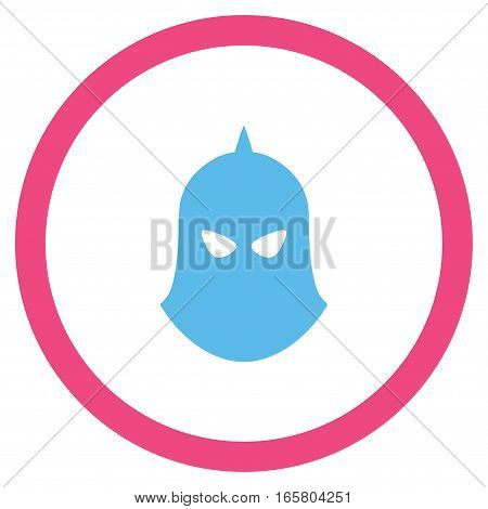 Knight Helmet vector bicolor rounded icon. Image style is a flat icon symbol inside a circle, pink and blue colors, white background.