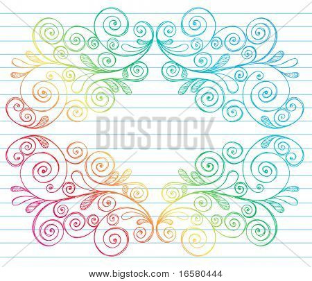 Hand-Drawn Abstract Swirls Symmetrical Frame Sketchy Doodles on Lined Notebook Paper Vector Illustration