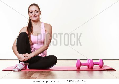 Girl In Gym Before Exercising.