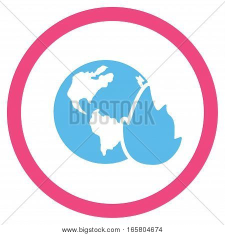 Planet Flame vector bicolor rounded icon. Image style is a flat icon symbol inside a circle, pink and blue colors, white background.