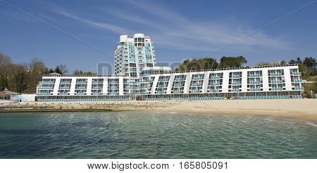 SAINTS CONSTANTINE AND HELENA BULGARIA - APRIL 20 2015: hotel Rubin in Saints Constantine and Helena the oldest first sea resort of Bulgaria exists from 19 century.