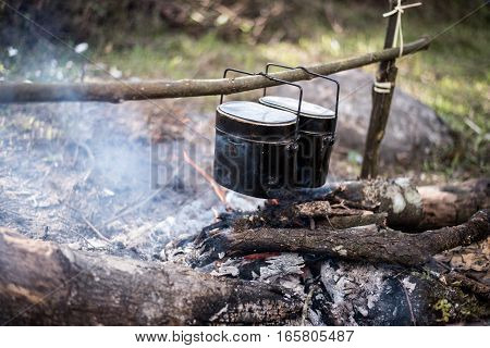 Cauldron Boils On The Fire In The Forest