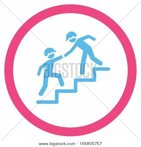 Workers Help vector bicolor rounded icon. Image style is a flat icon symbol inside a circle, pink and blue colors, white background.