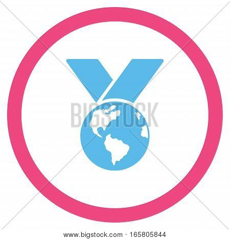 World Medal vector bicolor rounded icon. Image style is a flat icon symbol inside a circle, pink and blue colors, white background.