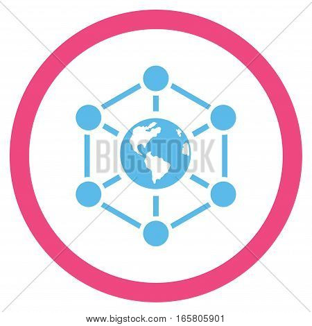 Worldwide Internet vector bicolor rounded icon. Image style is a flat icon symbol inside a circle, pink and blue colors, white background.