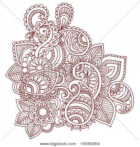Hand-Drawn Abstract Henna (mehndi) Paisley Doodle Vector Illustration Design Element