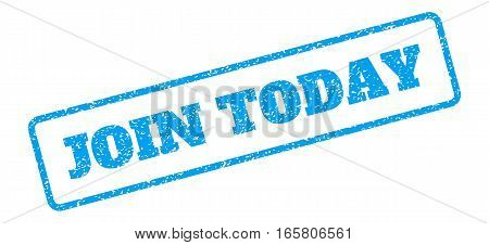 Blue rubber seal stamp with Join Today text. Vector tag inside rounded rectangular frame. Grunge design and dirty texture for watermark labels. Inclined sign on a white background.