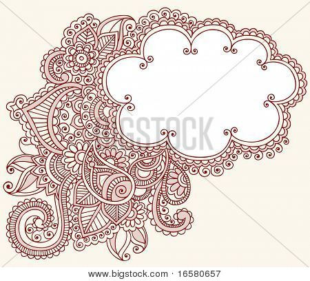 Hand-Drawn Cloud Shaped Henna (mehndi) Paisley Doodle Vector Illustration Design Element