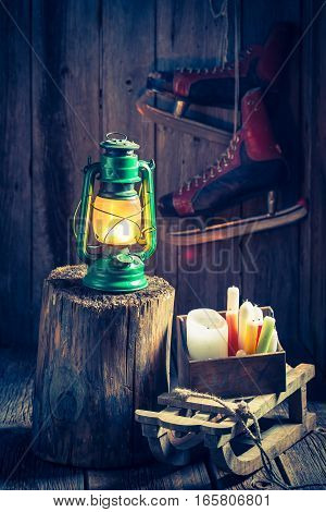 Vintage Winter Cottage With Snow And Oil Lamp