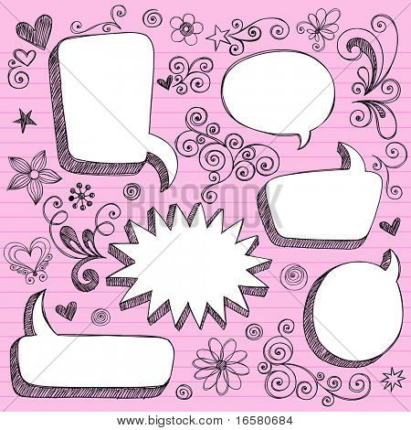 Hand-Drawn Sketchy 3-D Shaped Comic Book Style Speech Bubble Frames- Notebook Doodles on Lined Paper Background- Vector Illustration