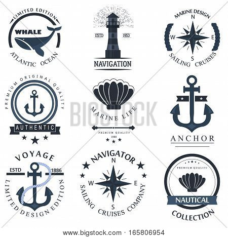 Set of sea and nautical decorations isolated on white background. Collection of elements for company logobusiness identity anchor retro badge and web decor or other design. Vector nautical logo.