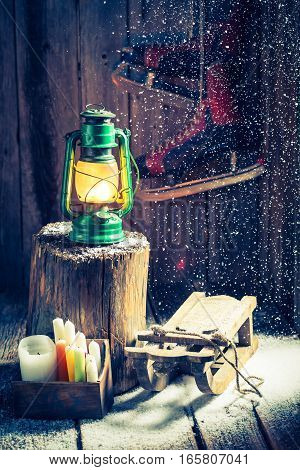 Snowy Winter Hut With Snow And Oil Lamp