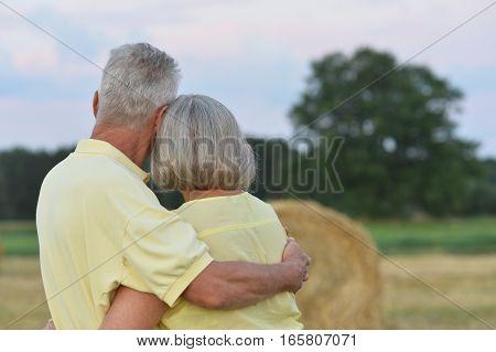 Beautiful happy senior couple in summer field