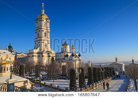 Belfry Pochayiv Lavra on a clear winter day Ukraine