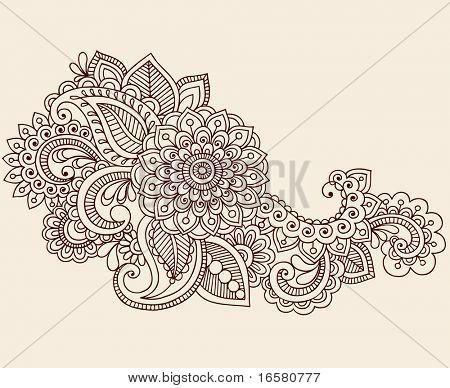 Handgetekende abstracte Henna Mehndi bloemen en Paisley Doodle Vector Illustratie ontwerpelement