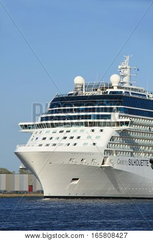 Velsen The Netherlands - May 16 2015: Celebrity Silhouette is a Solstice-class cruise ship owned and operated by Celebrity Cruises built by Meyer Werft Papenburg. The Silhouette is 315 m (1033 ft) long.