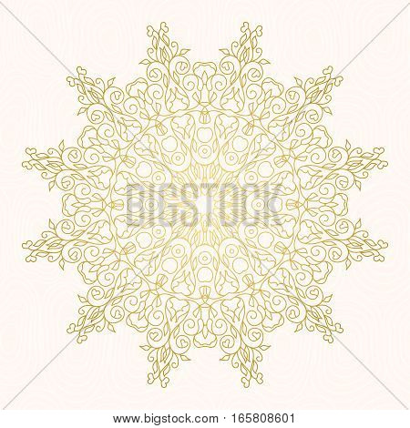 Vector  frame  for design template.  Golden floral borders. Ornate round decor  for save the date, birthday, greeting card, wedding invitation, leaflet, poster, certificate, thank you message.