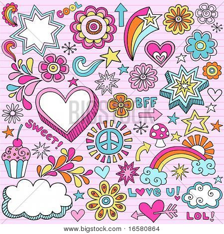 Hand-Drawn Psychedelic Groovy Notebook Doodle Design Elements Set on Pink Lined Sketchbook Paper Background- Vector Illustration