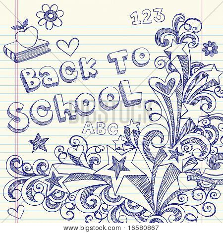 Hand-Drawn Back to School Sketchy Notebook Doodles with Lettering, Books, Shooting Stars, Hearts, and Swirls- Vector Illustration Design Elements on Lined Sketchbook Paper Background