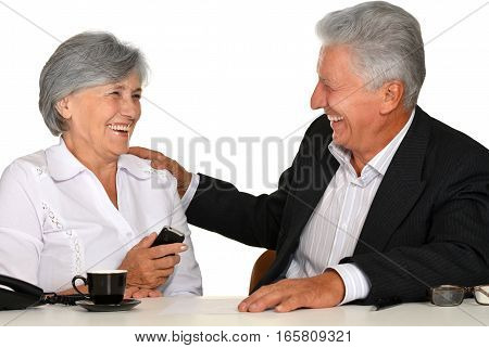 Portrait of a smiling man and woman at office