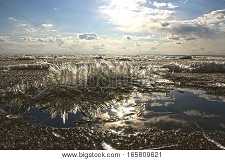 Melting spring ice on the river at sunset. The river Ob Novosibirsk oblast Siberia Russia