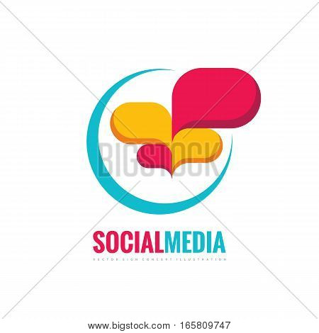 Social media - speech bubbles vector logo concept illustration in flat style. Dialogue icon. Chat sign. Communication messages insignia. Design element.
