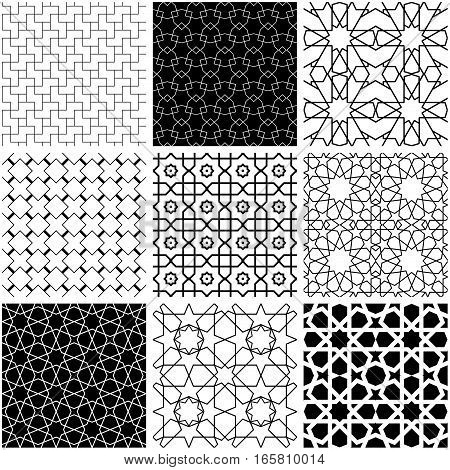Arabic geometric style abstract patterns in black and white