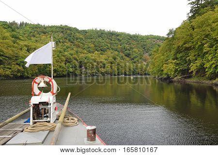 The bridge of the boat on the Vltava river