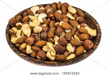 A mixture of nuts, cashews, almonds and hazelnuts. Studio Photo