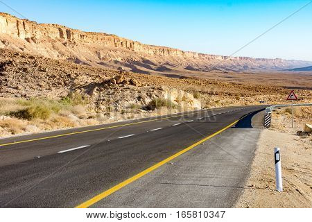 Desert Road Leading Up The Ramon Crater