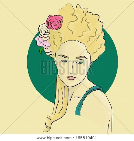 Lady with flowers in her hair. Blonde woman illustration.