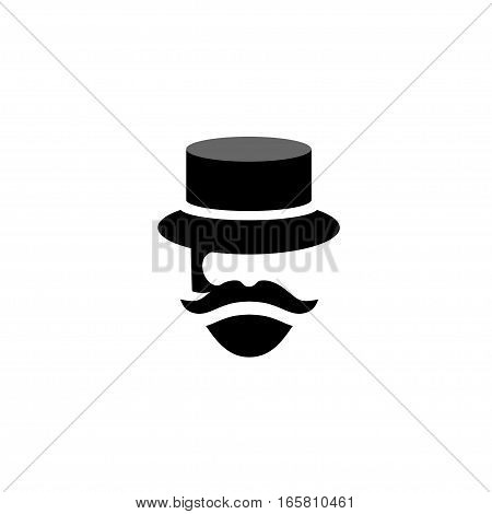 people Retro old mustache vintage style beard gent icons. Barber mister gentleman party black vector silhouette.