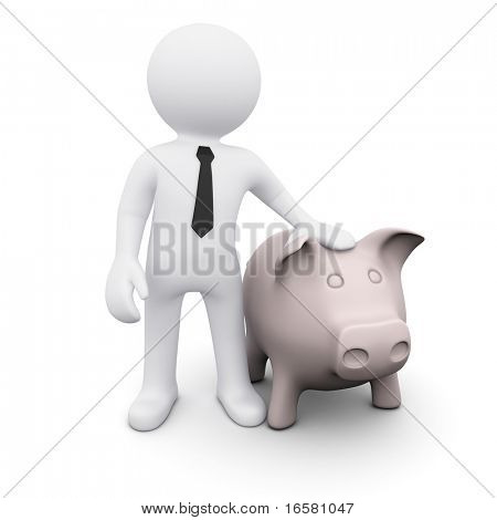 A small three-dimensional man with a pink piggy bank.