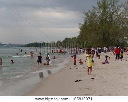31 december 2016 otres beach sihanoukville cambodia cambodian people at the beach bathing and relaxing editorial