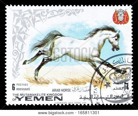 YEMEN - CIRCA 1969 : Cancelled postage stamp printed by Yemen, that shows Arab horse.