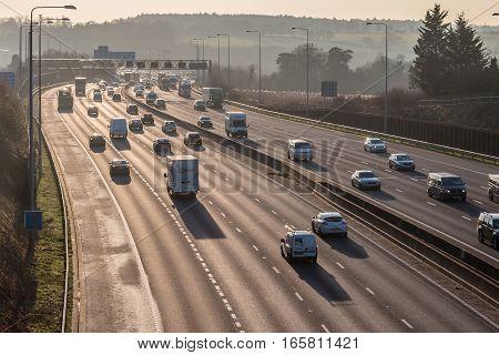 London UK - December 18 2017: Sunset above busiest British motorway M25