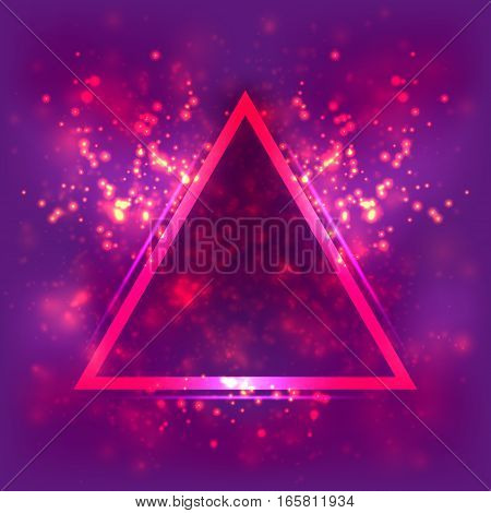 Abstract light background, luminous triangular frame. Blurred bright magenta and purple space, dust, particle and glare. Fantastic cosmos and the universe, Illustration astrological backdrop galaxy