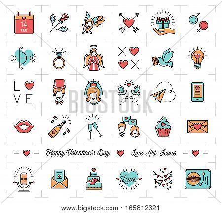 Valentine icon set, flat design line art thin style, Valentines day signs and love symbols. Colorful icons on a white background, Vector illustration