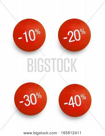 Sale tags with different discounts.Red color tags against white background with a soft shadow