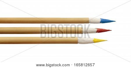 Three colorful paint brushes against white background. Blue red and yellow color. Horizontal position.