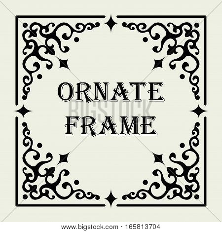 Vintage ornate frame. Vector design for text or image. The elements are on separated layers, so the frame's size and its proportions are changeable by moving the corner ornaments, optionally filling the spaces with linear patterns.