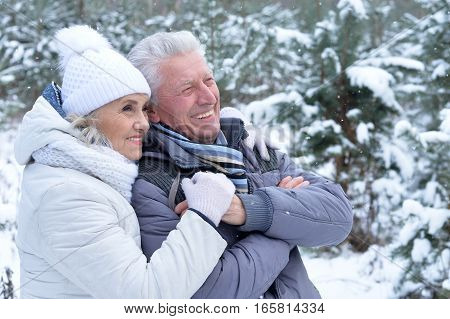 mature couple happy together posing outdoors in winter