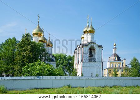 At walls of the Sacred and Nikolsky Pereslavsky monastery in the sunny July afternoon. Pereslavl-Zalessky. Golden Ring of Russia