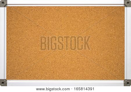 Cork Board With Aluminum Frame. Isolated